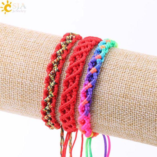 CSJA Freundschaftsarmband für Frauen Kabbalah Armbänder Rote Schnur Seil String Thread Weave Hand Geflochtene Einstellbare Schmuck Drop Shipping S212