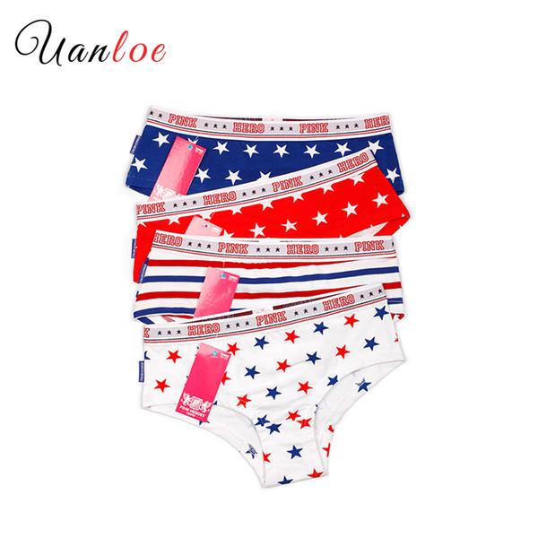 2018 Chic Printed Panties 4 Pieces Woman Design Striped&Star Print Briefs Ladies Sexy Lingerie Womens 93% Cotton Underwear Sale