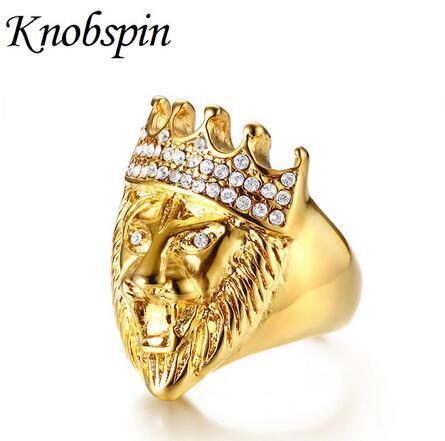 Tom de Ouro Hip Hop dos homens Roaring Rei Leão Cabeça e Coroa Anel CZ para Homens Rock Aço Inoxidável Pinky Anéis Jóias Masculinas