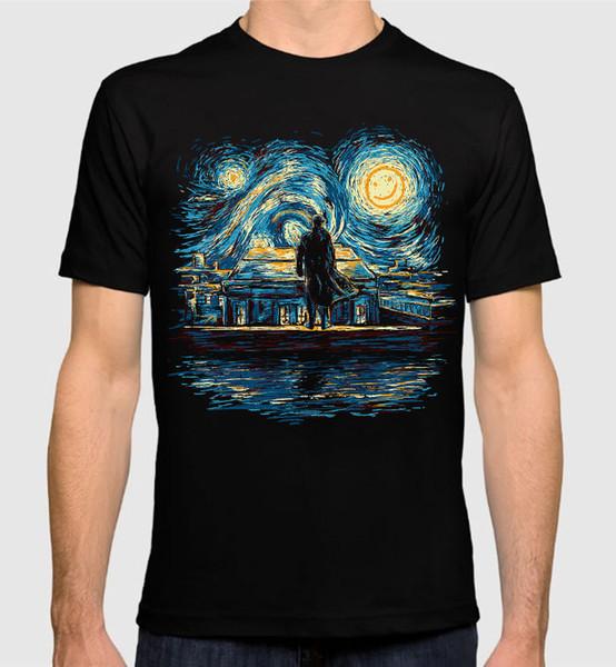 Sherlock noite estrelada t-shirt das mulheres van gogh combinado das mulheres art new algodão tee camisetas casuais marca clothing algodão