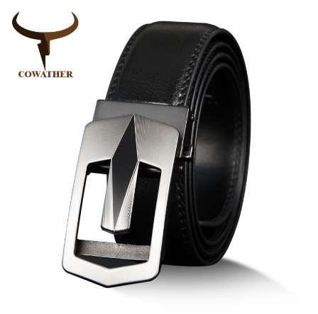 a85d5915d3 COWATHER Cintos de Couro Genuíno Vaca de Alta Qualidade para Homens  Automático Do Vintage Masculino Cinto