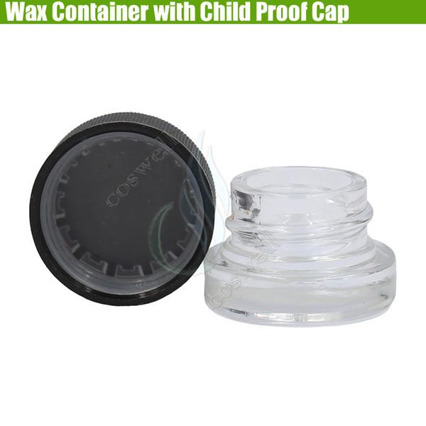 Pyrex Wax Container Coperchio tappo a prova di bambino Dab Vasetti di vetro 5ml Erba secca a base di erbe Concentrato antiaderente Cereale Food Bottle Vaporizzatori Dabber