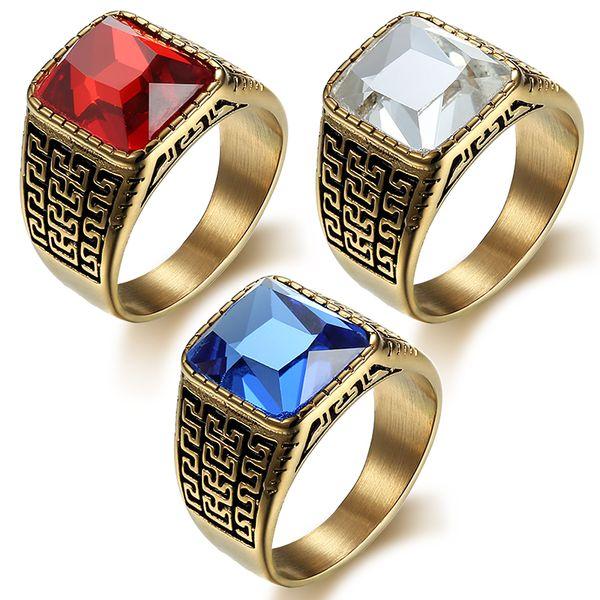 Anillo de los hombres cuadrados de piedra anillo de oro de color titanium de acero inoxidable anillos masculinos Banda de joyería de la vendimia Punk Rock Hip Hip moda DAR028