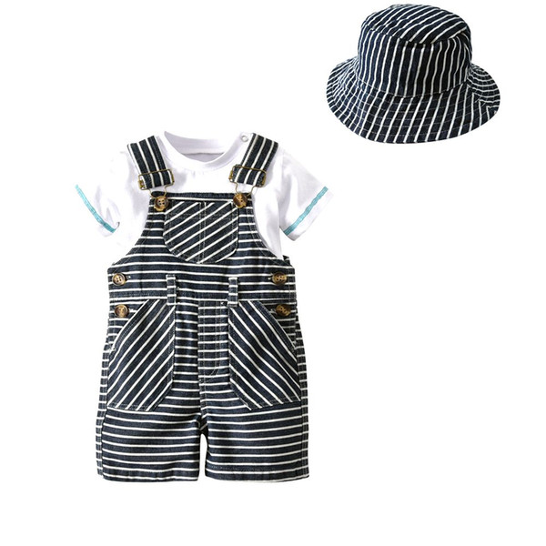 Wholesale Baby Infant Kid Boys Toddler Newborn Boy Gentleman Brace hat Tie Bow Onesie Bodysuit Romper Jumpsuit Coverall Outfit Clothing Set