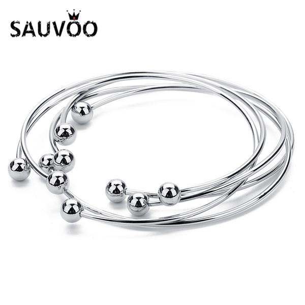 SAUVOO 5Pcs/lot Adjustable Round Cuff Bangles Bracelets For Women Silver Color Ball Charm Open Blank Bracelet Pulseira Feminina