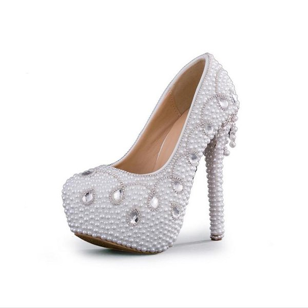 Fashion Women Dress Shoes High Quality Handamde White Pearl Wedding Pumps Mother of the Bride Shoes Bridal High Heels wedding shoes