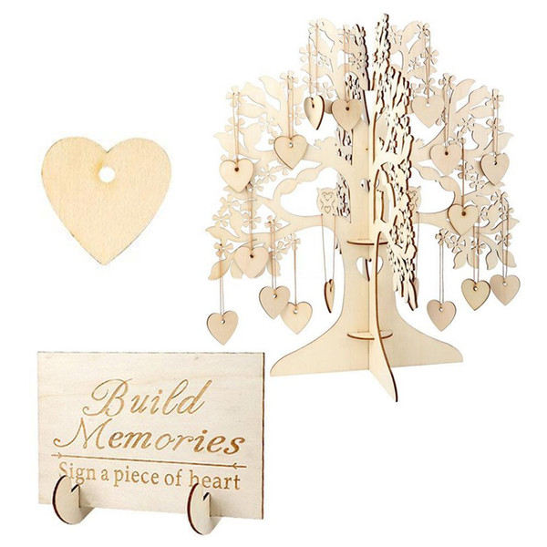 Wooden Hearts Pendant Drop Guest Book Tree Wedding Guest Book Tree 3D Wooden Guest Sign Book Rustic Wedding Party Decorations