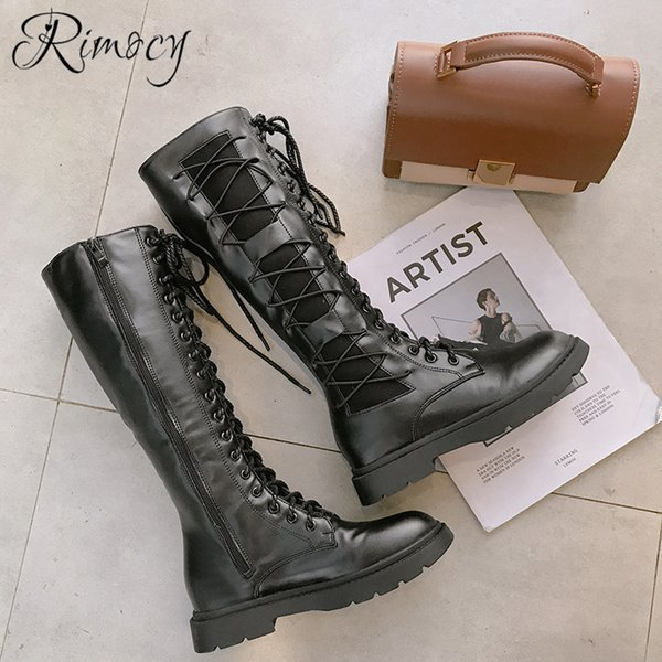 Rimocy long boots ladies fashion cross tied botines women winter warm shoes woman square heels botas mujer PU leather boty femme