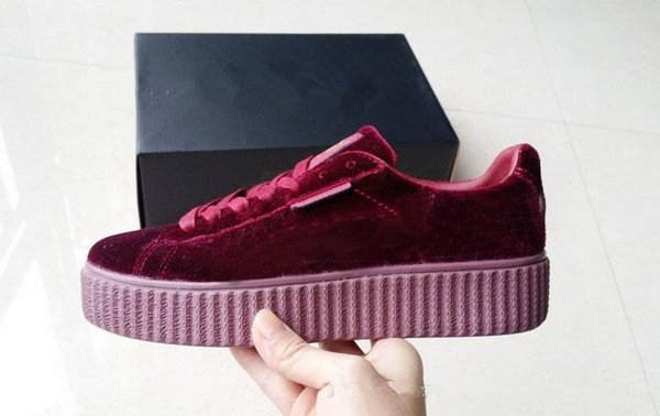 New Velvet Rihanna x Suede Creepers Rihanna Creeper Running Shoes Grey Red Black Women Men Fashion cheap Casual Shoes sneakers