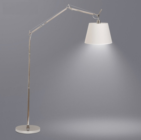 160cm High Brushed Steel Metal Floor Lamp with Adjustable Silver Swing-arm and Metal Shade