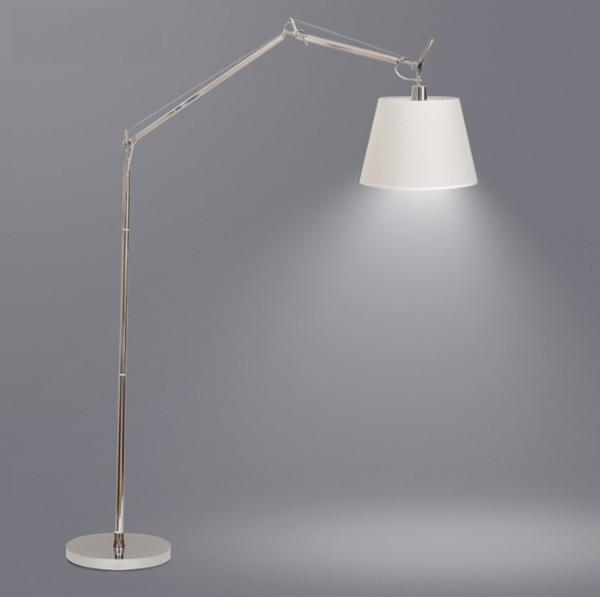 Ayarlanabilir Gümüş Salıncak-kol ve Metal Gölge ile 160cm Yüksek Fırçalanmış Çelik Metal Zemin Lambası