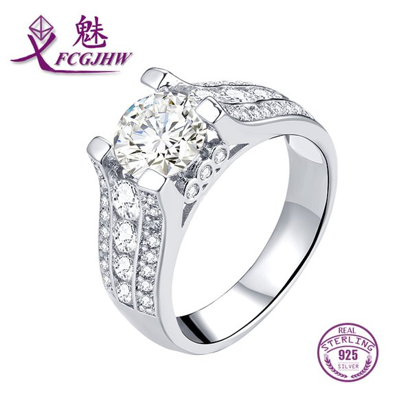 100% 925 Sterling Silver bridal Ring Clear CZ for Women Wedding Engagement Jewelry FCGJHW