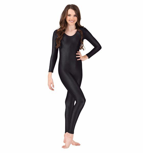 Girls Long Sleeve Unitard Kids Athletic Gymnastics Dance Unitard Lycra Full Body Zentai Bodysuit Ballet Active Wear Costume