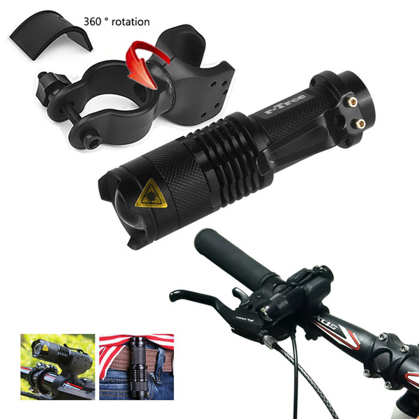 2000 lumens Q5 LED Bike Head Light Flashlight Bicycle Cycling Front Head Light Waterproof Zoom Mini Torch with 360° Mount Clip