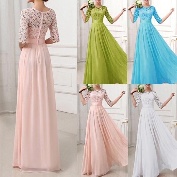 Fashion Women Dress Lace Chiffon Half Sleeve Slim Maxi Long Gown Elegant Princess Evening Party One-Piece Elegant