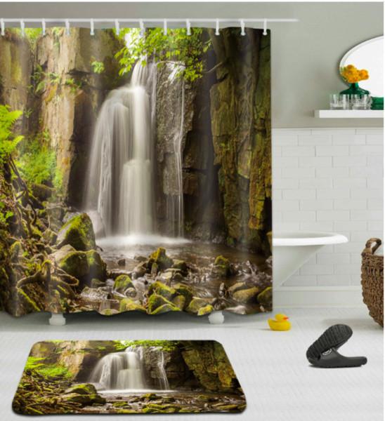 Valleys waterfall 3D pattern Print Custom Waterproof Bathroom Modern Shower Curtain Polyester Fabric Bathroom Curtain Door mat sets