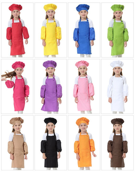 top popular 3pcs set Child Apron Kids Sleeve Hat Pocket Kindergarten Kitchen Baking Painting Cooking Drink food 12 colors 2020
