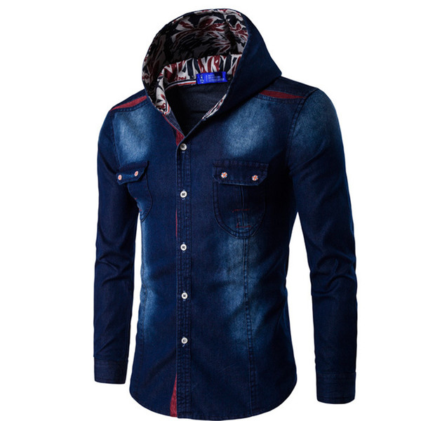Hot Sale Men Denim Shirt 2018 Brand Fashion Korean Wild Wash Thin Long Sleeve Shirts Men Hooded Jacket Coats Blue Asian Size