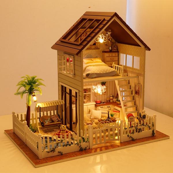 Assemblea di montaggio di DIY Kit di modello miniatura di legno Casa di bambola di legno, giocattolo dell'appartamento di Parigi con le mobilie