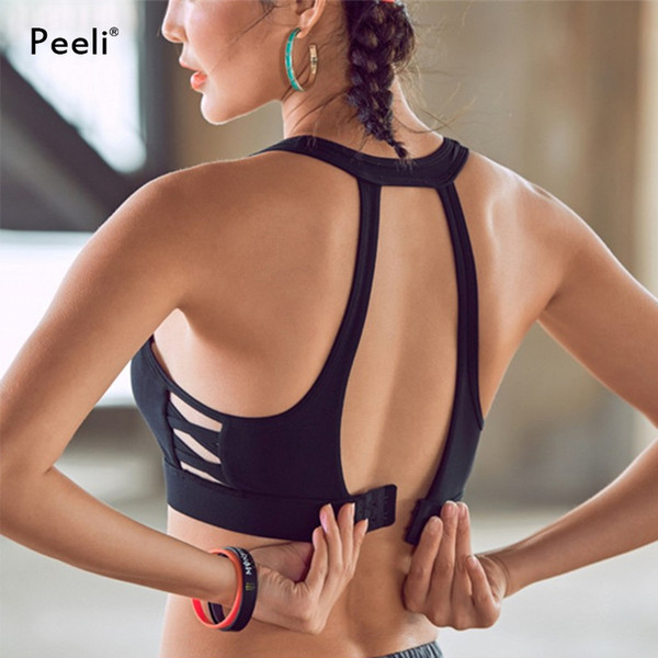 Peeli High Impact Sports Bra Top Gym Hollow Out Running Padded Yoga Bras Fitness Crop Tops Soutien Gorge Sport Bh Active Wear