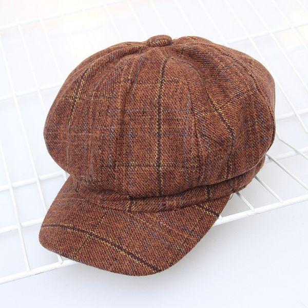 Nuovo autunno e inverno retrò plaid cappello giornale britannico cappello pittore cappello moda creativa cappello ottagonale berretto all'ingrosso