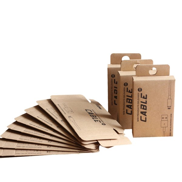 100 pcs Retail Kraft Paper Packaging for 0.5-1.5M USB Cable Custom Paper Packaging Box for Phone Accessories with Hang Hole