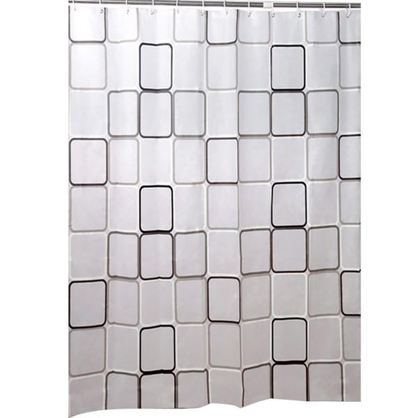 180cm * 180 / 200cm coquille poisson salle de bain imperméable rideau de douche preuve de moisissure avec rideau crochets sonne 12pcs