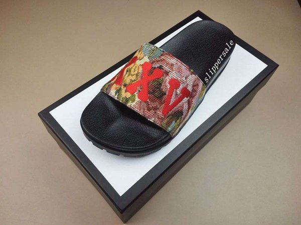 mens and womens Trek Floral-brocade Slides sandals flip flops with thick rubber sole size euro 36-45