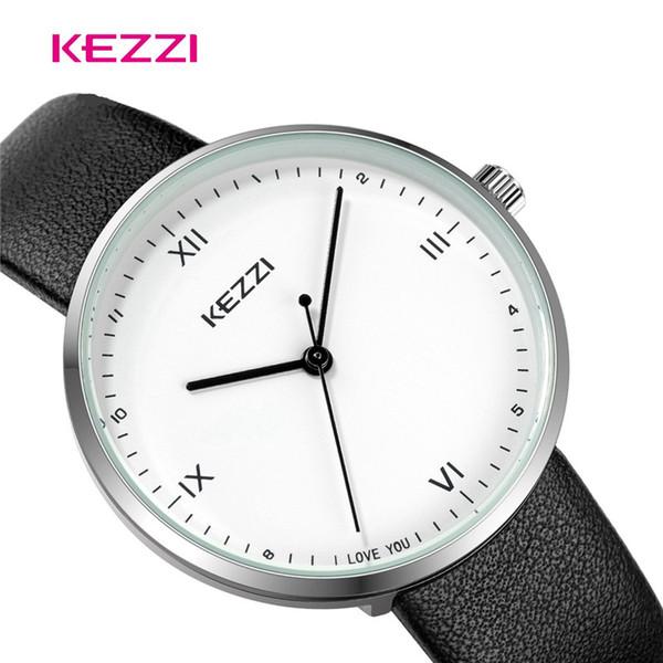 KEZZI Paar-Armbanduhren-Klassiker-Schwarz-Farbe PU-Leder-Liebhaber-Uhren-Art und Weise beiläufige einfache elegante Frauen Reloj
