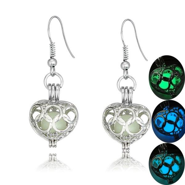 Luminous Earrings Glow In the Dark Delicate Hollow Heart Shape For Women Party Accessory Halloween Christmas Gift 3 Styles