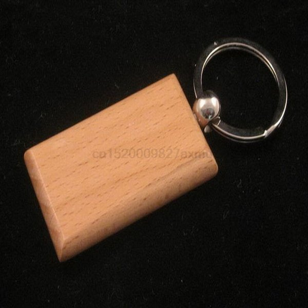 500PCS Blank Wooden Key Chain Promotion Rectangle Carving Key ring Rectangle Wood Key Chain