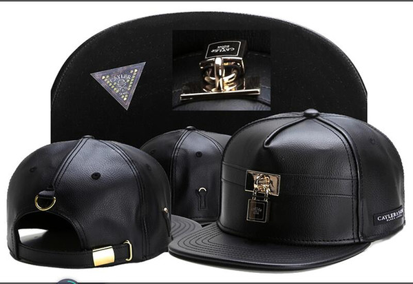 2018 Summer black Cayler & Sons leather lock Baseball Caps Casquettes chapeus hip hop Outdoor Sports Snapback Hats For Men Women casquette
