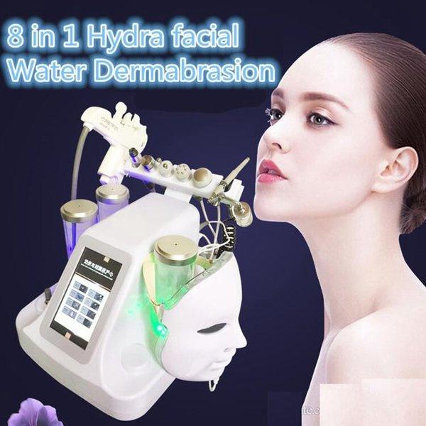 Nuevo 8 en 1 Mesoterapia RF Agua Hidrafacial Dermoabrasión Limpieza de la piel LED Máscara PDT Oxígeno Jet Martillo frío BIO Máquina de estiramiento facial Ultrasonic