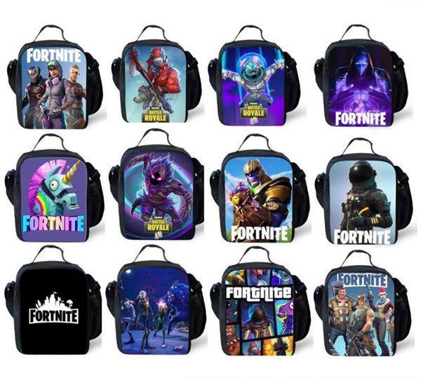 Kids Fortnite Lunch Box Bag Cartoon School Outdoor Picnic Tote Bags Students Shoulder Bag Unisex Thermal Lunch Boxes Storage Bags 12 Styles