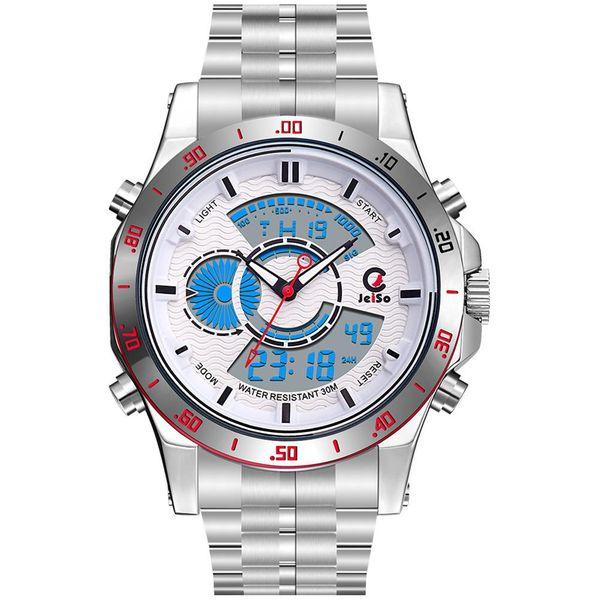 JeiSo Men Dual Core Waterproof Watches  Silver Alloy Sport Quartz Watch