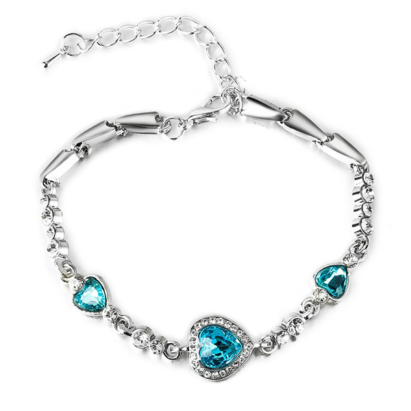 New fashion Women Charm Ocean Blue Silver Crystal Elegant Bracelet Rhinestone Heart Bangle Bracelet Ladies Jewelry Wholesale