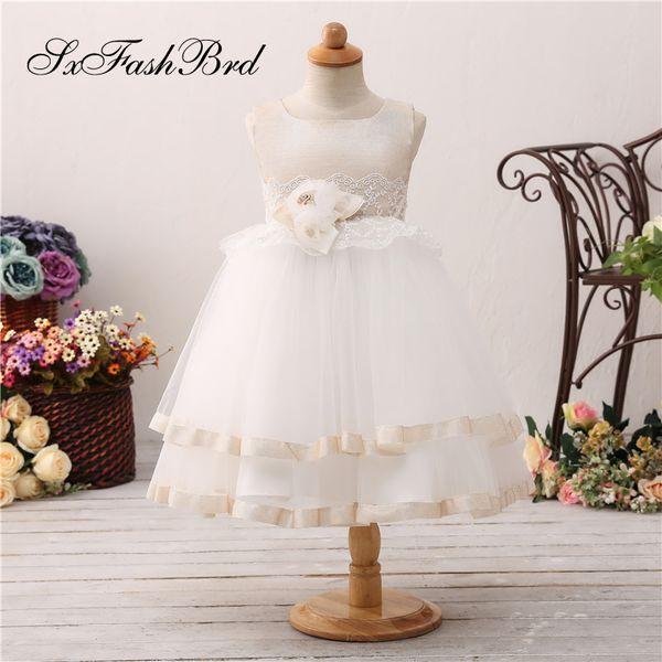 Güzel Çiçek Kız Elbiseler Ile O Boyun Bel Çiçek Bir Çizgi Tül Kız Pageant Elbise Çocuklar Resmi Giyim Düğün Parti Elbiseler
