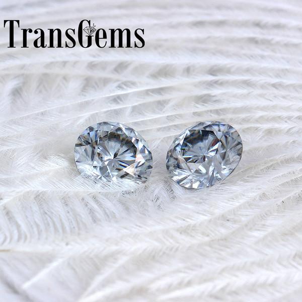 TransGems 8mm 2Carat grey Color Certified Man made Diamond Loose Moissanite Bead Test Positive As Real Diamond Gemstone 1pcs S923