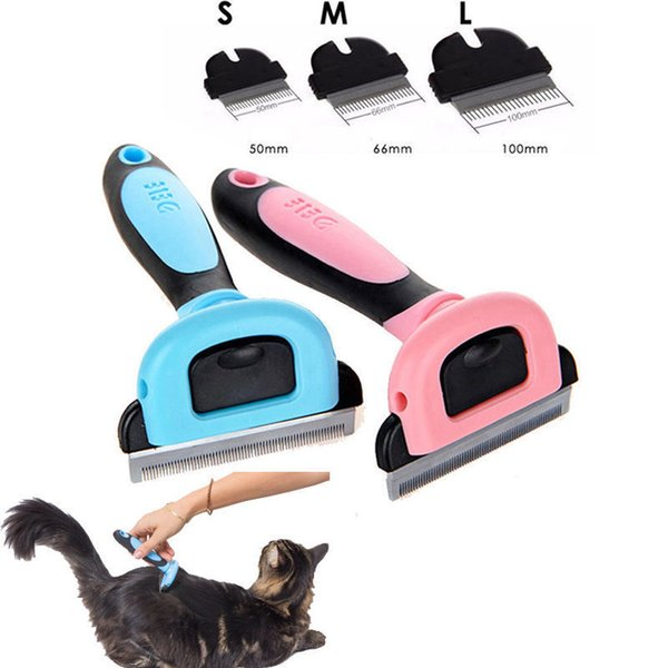 Pet Grooming Brush Comb Shedding Rake Trimming Tool Pink Blue Detachable Clipper for Dog Cat Hair Fur Removal AAA826