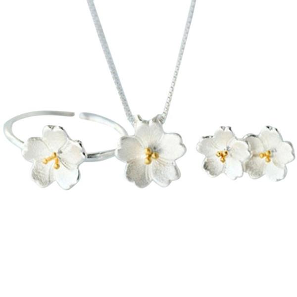 3 pçs / set Lindo Anel Colar Brinco Set Moda Prata Feminino Cerejeiras Flores Coreanas Simples Flor Da Jóia Do Casamento