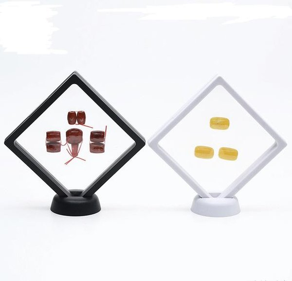 best selling 400PCS Black white Suspended Floating Display Case Jewellery Coins Gems Artefacts Stand Holder Box