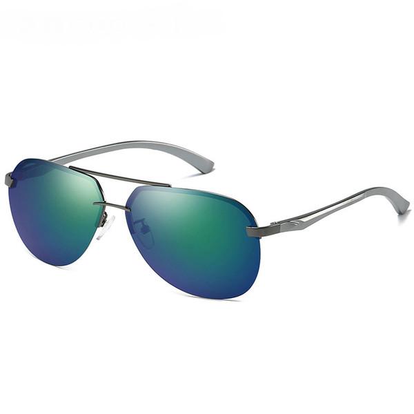 Grey frame+blue green lenses