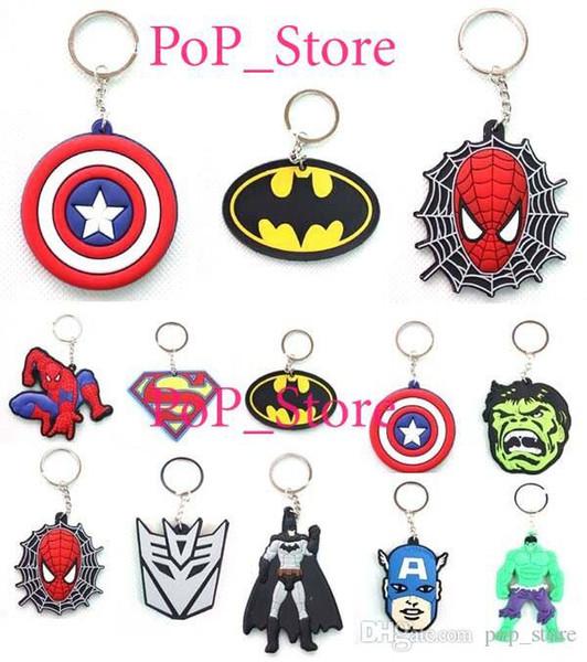 DHL / EMS Ücretsiz kargo! Yeni Süper kahraman örümcek adam Batman Kaptan Amerika logosu blend Anahtarlık PVC Anahtar Zincirleri karışık sipariş