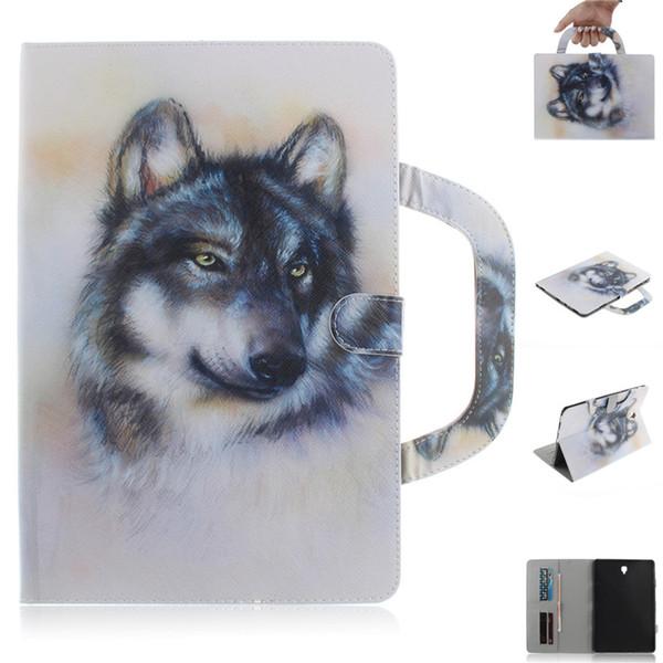 Funda para tableta para Samsung Galaxy Tab S4 10.5 T835 Manija cubierta plegable Soporte Billetera de cuero Tiger Lion lobo Coque