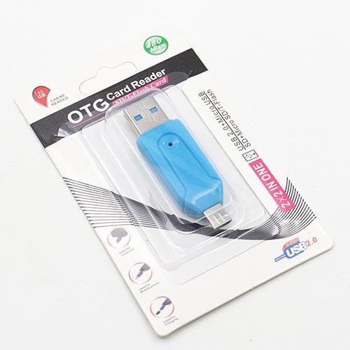 2 en 1 USB macho a micro USB Adaptador de doble ranura OTG con lector de tarjetas de memoria TF / SD de 32 GB para tableta Android Samsung Smartphone con caja al por menor