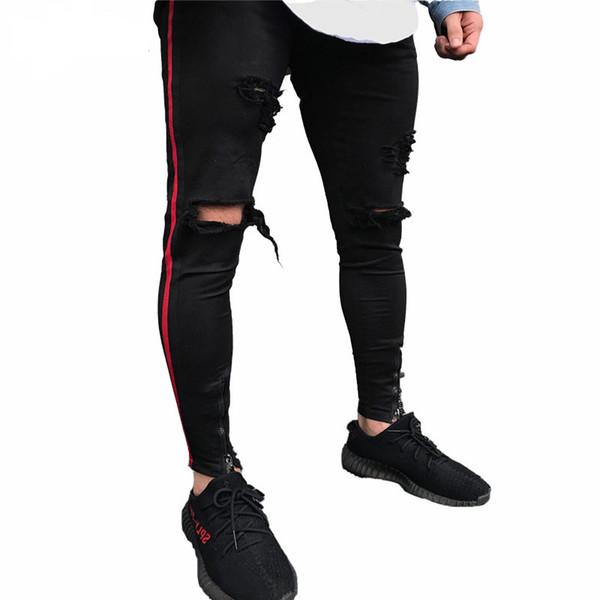 Black Men Jeans Hiphop Zipper Stretch Knee Ripped Biker Jeans Hole Hip Hop Elasticity Skinny Denim Trousers Vintage Jeans