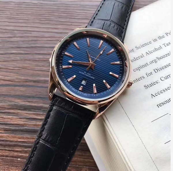 Mode décontractée Sport automatique Date Montre homme montres à quartz Montres pour hommes en cuir Montres Horloge achats gratuitsA4