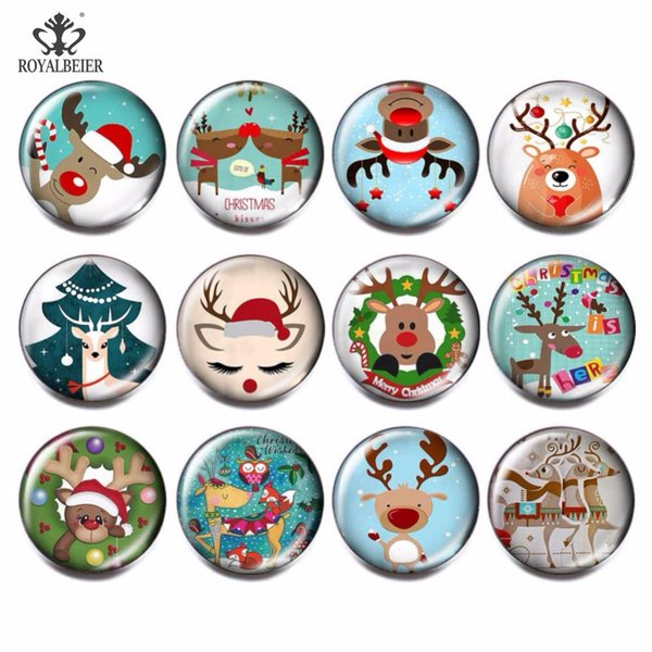 RoyalBeier 12pcs/lot Christmas Deer Multi Glass Charms 18mm Snap Button Jewelry For 18mm Beads for Jewelry Making kg0047