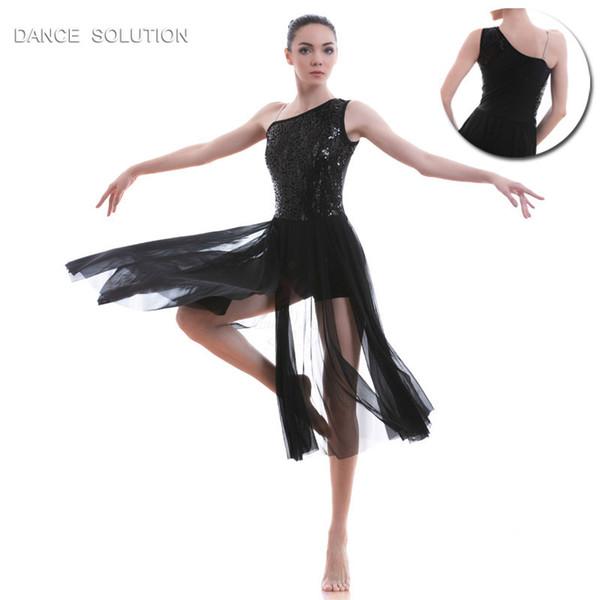 Preto Lantejoulas Rendas Corpete Ballet Traje Lírico Contemporânea Dança Vestido de Malha Saia Mulheres Menina Traje Do Estágio vestido