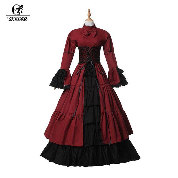 ROLECOS Brand New Mulheres Manga Longa Victoria Vestido de Algodão Gothic Medieval Princesa Trajes Lolita Vestidos para As Mulheres